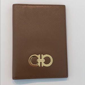 Salvatore Ferragamo Light Brown Passport Holder.
